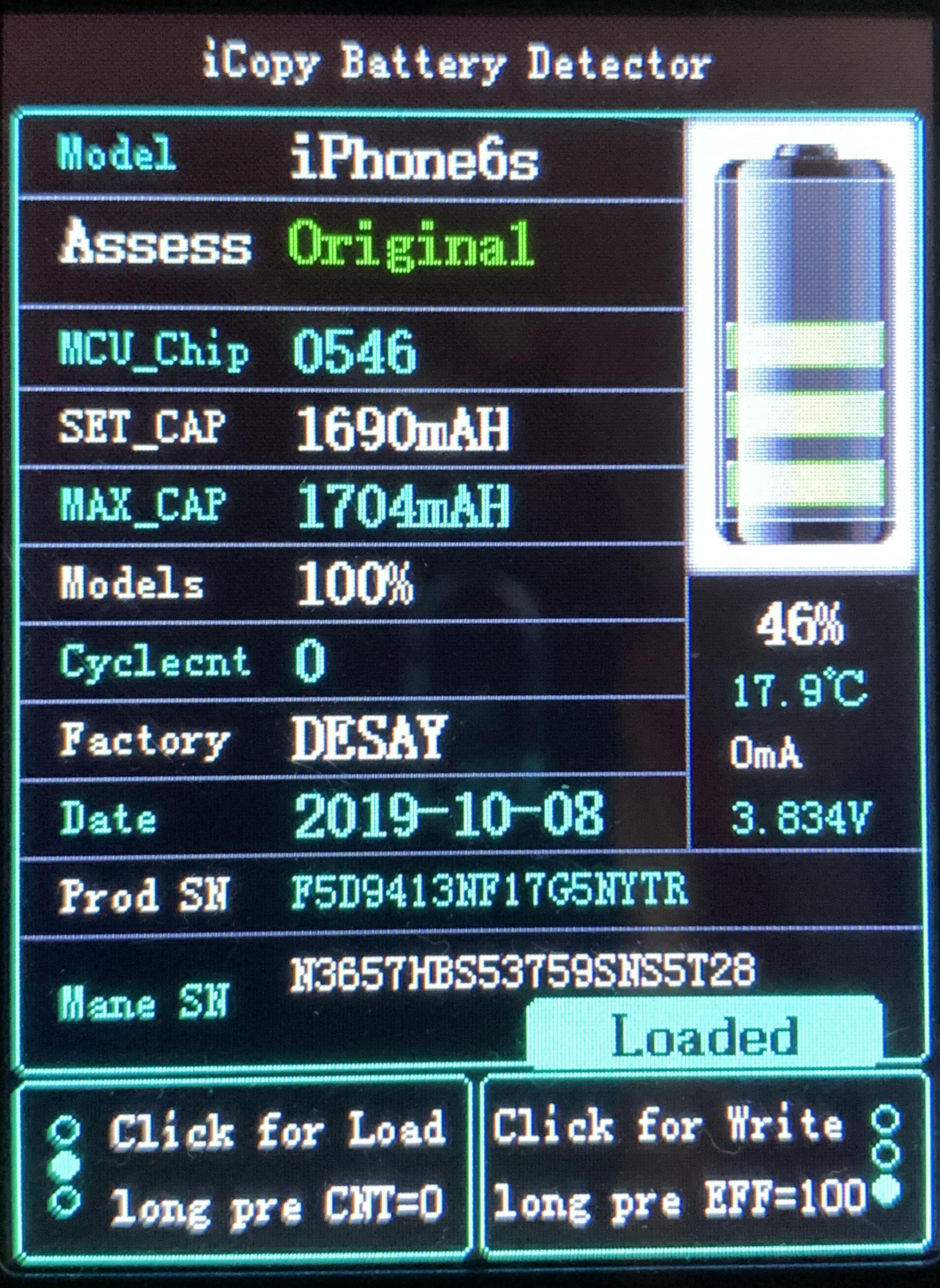 Ověření originality baterie pro iPhone 6S pomocí Qianli iCopy battery tester